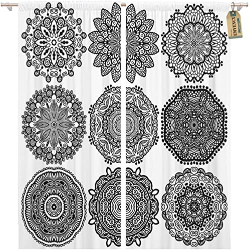 Emvency Thermal Blackout Curtains Drapes Set of 2 Panels 52 W x 96 L Circle Lace Round Ornamental Geometric Doily Pattern Black and White Collection Window Curtains for Living Room