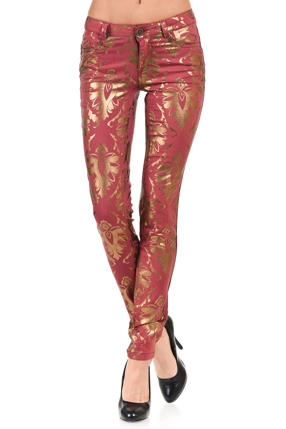 VIRGIN ONLY Women's Damask metallic skinny color pants-9-Pink