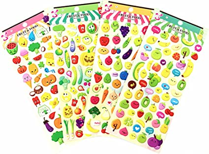 4 Sheets Self Adhesive Decorative Sticker for Kids Toys Scrapbooking Craft
