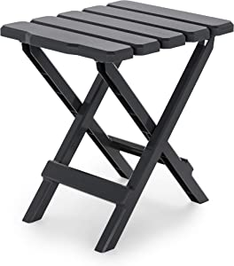 Camco Adirondack Portable Outdoor Folding Side Table - Perfect for The Beach, Camping, Picnics, Cookouts and More - Weatherproof and Rust Resistant - Charcoal (21043)