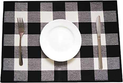 Amazon Com Levinis Buffalo Plaid Placemats Set Of 4 Cotton Black White Checkered Washable Place Mats For Kitchen Dinning Table Farmhouse Decor Home