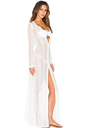 4078d942c1 Image Unavailable. Image not available for. Color: Prime Leader Summer  Breeze Lace Crochet Maxi Beachwear(White ...