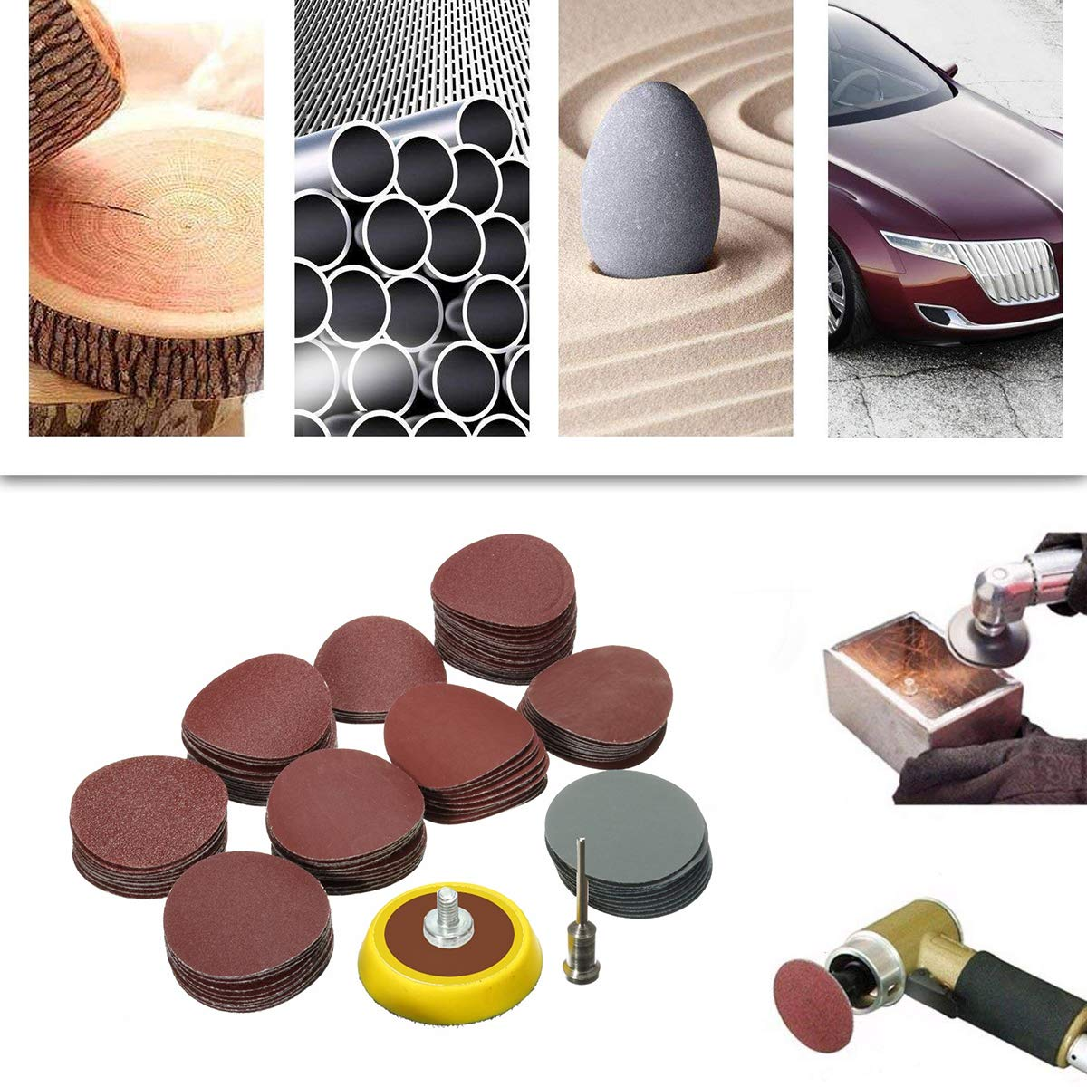 SAFETYON 102pcs Sandpaper Set with Backing Pad 1 Inch, Sandpaper 80 - 5000g, Sanding with Sanding Pad and Shaft