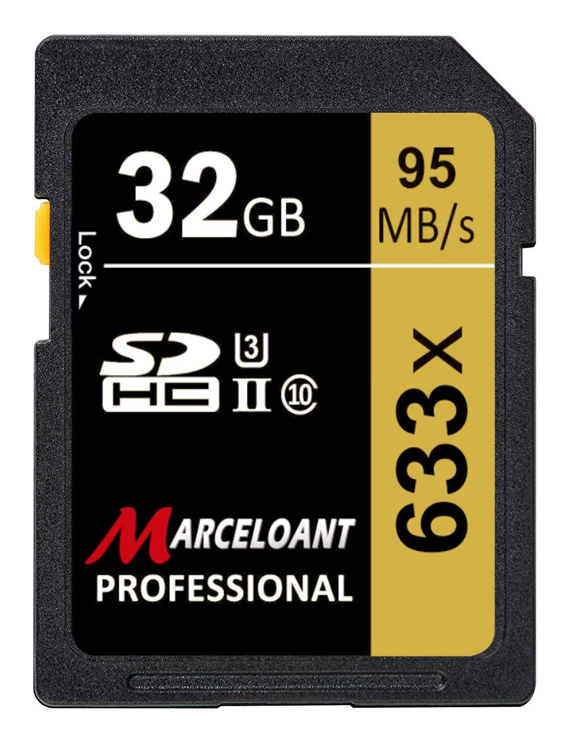 32GB SD Card, Marceloant Professional 633 x Class 10 SDHC UHS-II U3 SD Card Compatible Computer Cameras and Camcorders, SD Memory Card Up to 95MB/s, Yellow/Black (32GB) by Marceloant