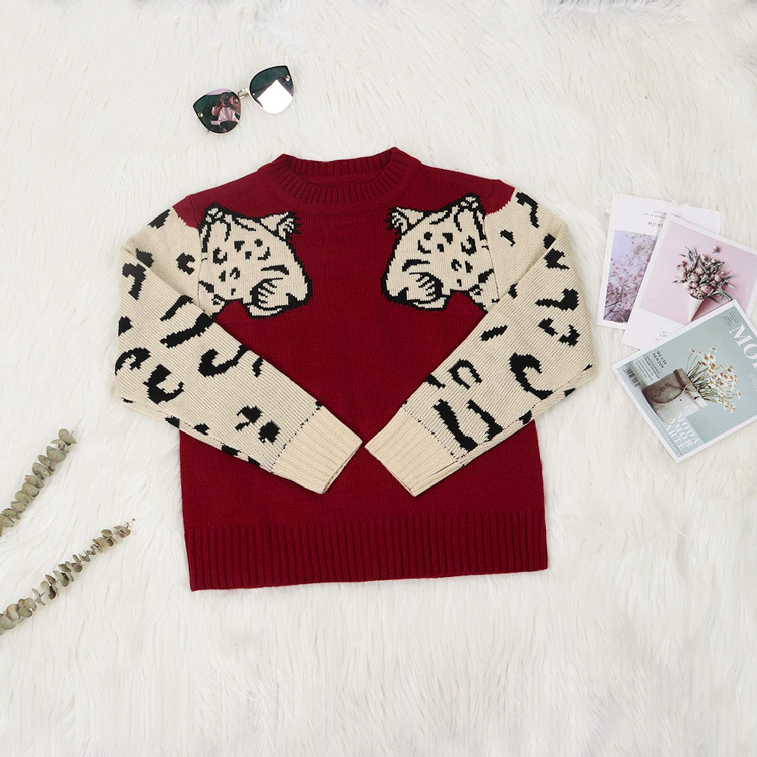 Angashion Womens Sweaters Casual Leopard Printed Patchwork Long Sleeves Knitted Pullover Cropped Sweater Tops