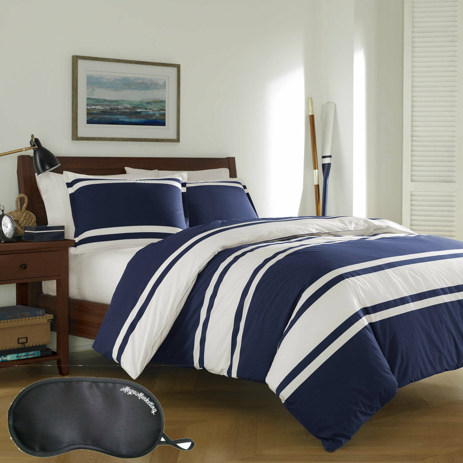 Poppy & Fritz Rylan Rugby Stripe 3-Piece FULL/QUEEN Size Reversible Duvet Cover Set in Navy, Made of 100% Cotton with Sleep Mask