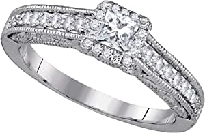 Dazzlingrock Collection Anillo de compromiso de diamante de 0,33 quilates (quilates), de 1/3 quilates, oro blanco de 14 quilates