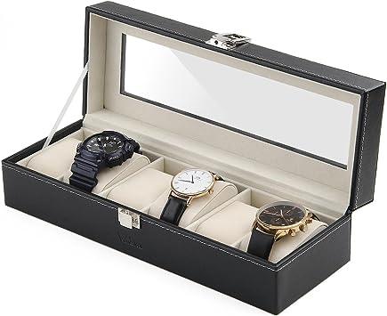 Amzdeal - Caja de joyería para reloj con 6 rejillas de cuero: Amazon ...