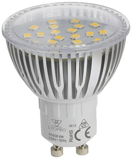 LYO Dicroica LED COB Neutra Integrado, 6 W, Blanco 5 x 6.3 cm