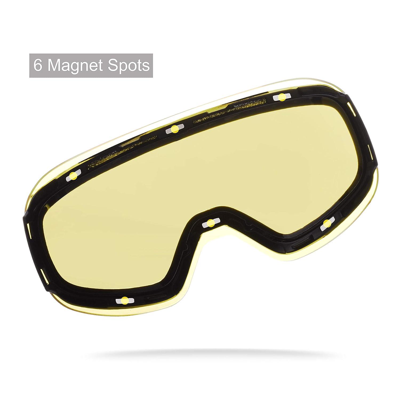 Snowledge Skibrille Damen Und Herren Ski Brille OTG Rahmenlos Wechselobjektive Doppellinse Anti-Fog UV400 Schutz Verspiegelt Snowboardbrille f/ür Schutzbrille Wintersport Skifahren Windbrille