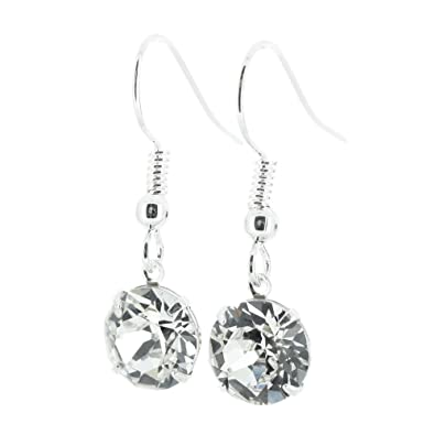 2430d96f2 pewterhooter drop earrings made with Diamond White crystal from SWAROVSKI®.  London gift box.: Amazon.co.uk: Jewellery