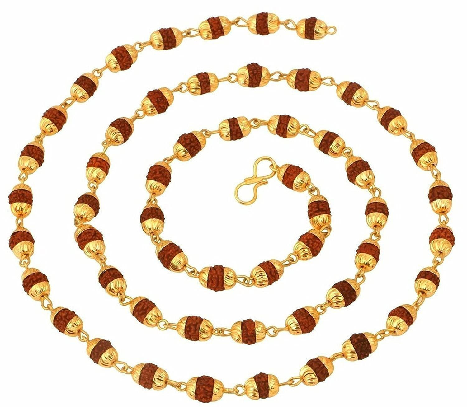 The jewelbox gold plated rudraksh mala chain long 28 inches for ...