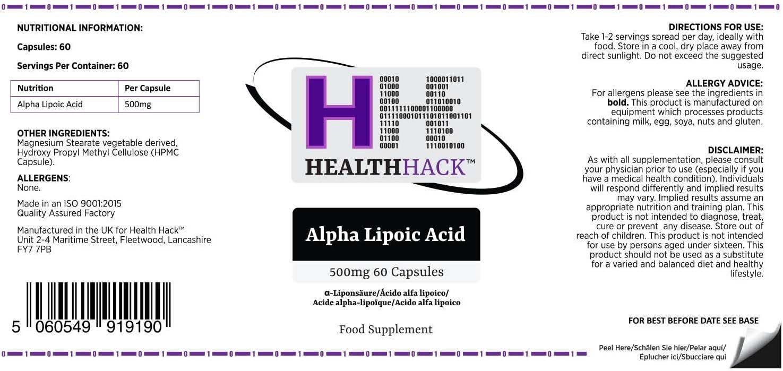 Health Hack - Ácido alfa lipoico, 500 mg, 60 cápsulas: Amazon.es: Salud y cuidado personal
