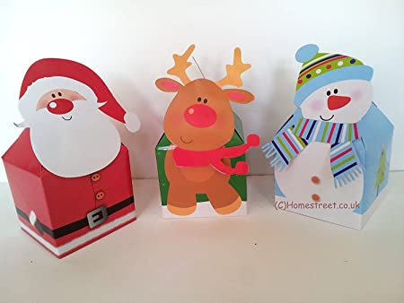 Homestreet Christmas Character Gift Boxes Snowman Reindeer And Santa Pack 3 Xmas Favour Box