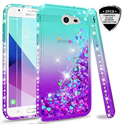 Galaxy J7 2017/ J7 V/ J7 Prime/ J7 Perx/ J7 Sky Pro/Halo Glitter Case (Not fit J7 2018) with Tempered Glass Screen Protector [2 Pack] for Girls Women, ...