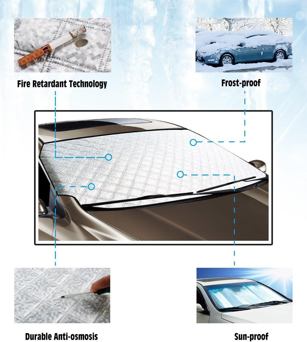 per proteggere contro sole e neve si adatta alla maggior parte di auto rimovibile Freeauto Copertura per parabrezza anteriore di auto antigelo universale impermeabile
