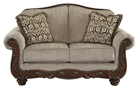 Ashley Furniture Signature Design – Cecilyn Traditional Style Rolled Arm Loveseat – Cocoa