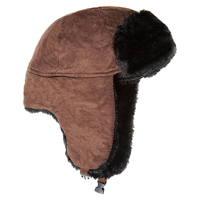 f0d2b35cd52 Accessoryo Unisex 58cm Brown Micro Suede Trapper Hat at Amazon Men's ...