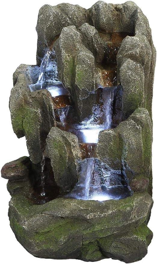 TerraFloraPlus Fuente DANUBIO 12770016 en poliresina - para Exteriores y/o para Interiores con 3 LED a 1 diodo: Amazon.es: Jardín