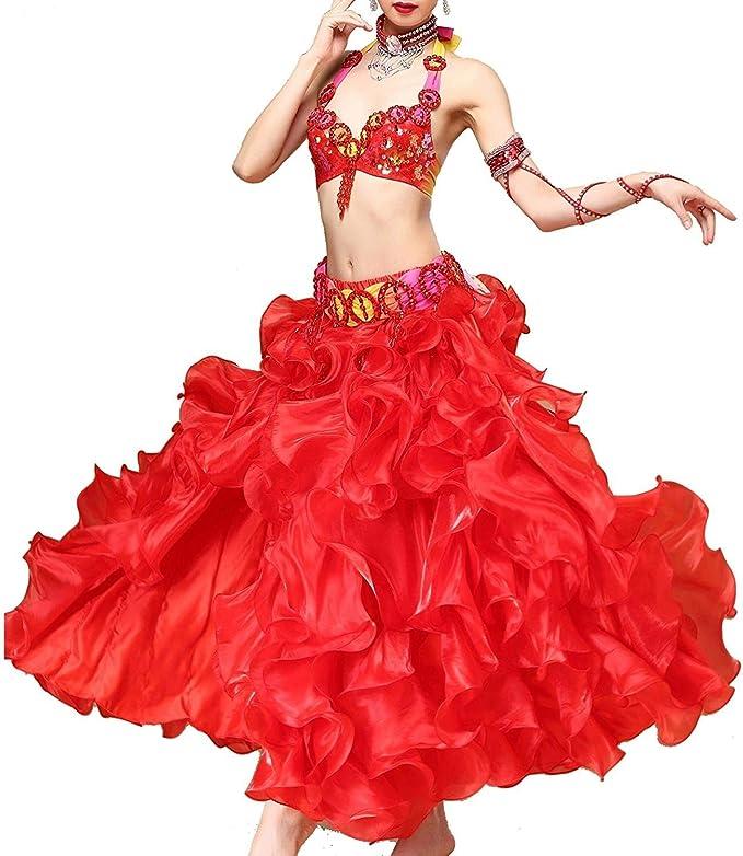 YTS Belly Dance Vestido Profesional de Rendimiento para Mujer ...