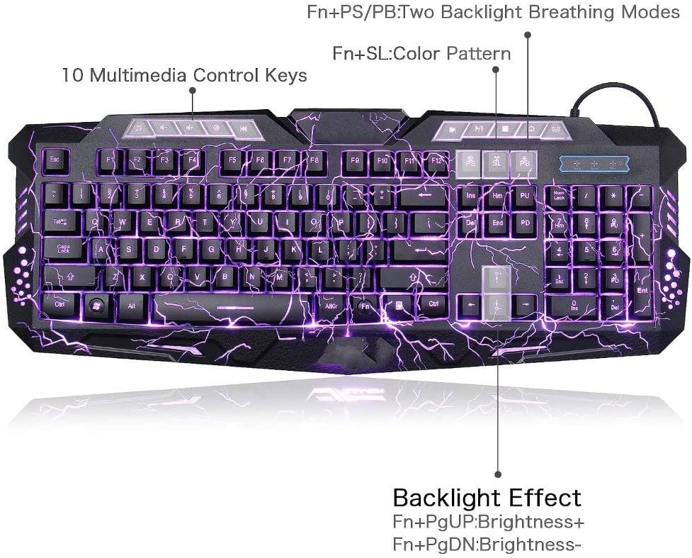 Purple DADUIZHANG Profession Game Mechanical Gaming Keyboard Backlight Pro Switching Three-Color Crack Breathing Light USB Wired