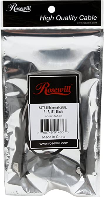 "Rosewill SATA II Flat Cable 18/"" Inch Black w// Locking Latch RC-18-SA2-BK"