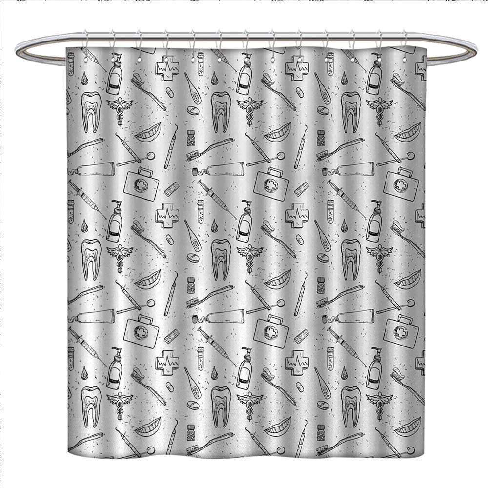 Anniutwo Doodle Shower Curtain Collection By Hand Drawn Style Medical Pattern With Dental Hygiene Theme Teeth Care Cleaning Custom Made W69 X