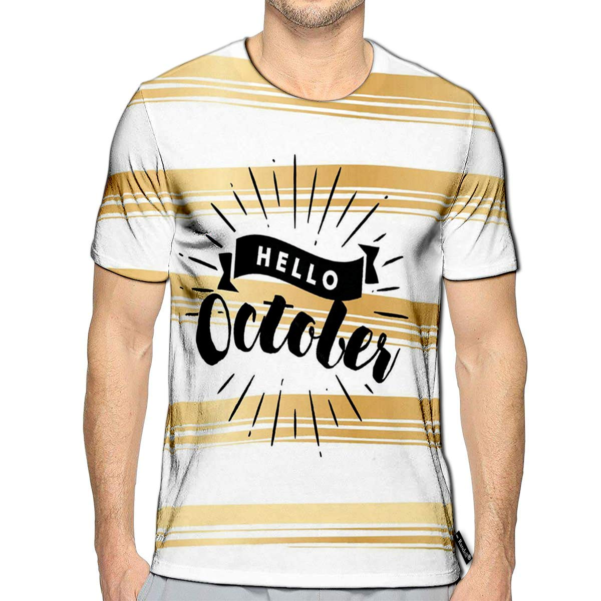Randell 3D Printed T-Shirts Hello October Calendar Short Sleeve Tops Tees