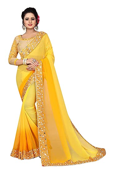 3e636b5de8 Jashvi Creation Georgette Saree With Blouse Piece (A17-Yellow_Yellow_Free  Size): Amazon.in: Clothing & Accessories