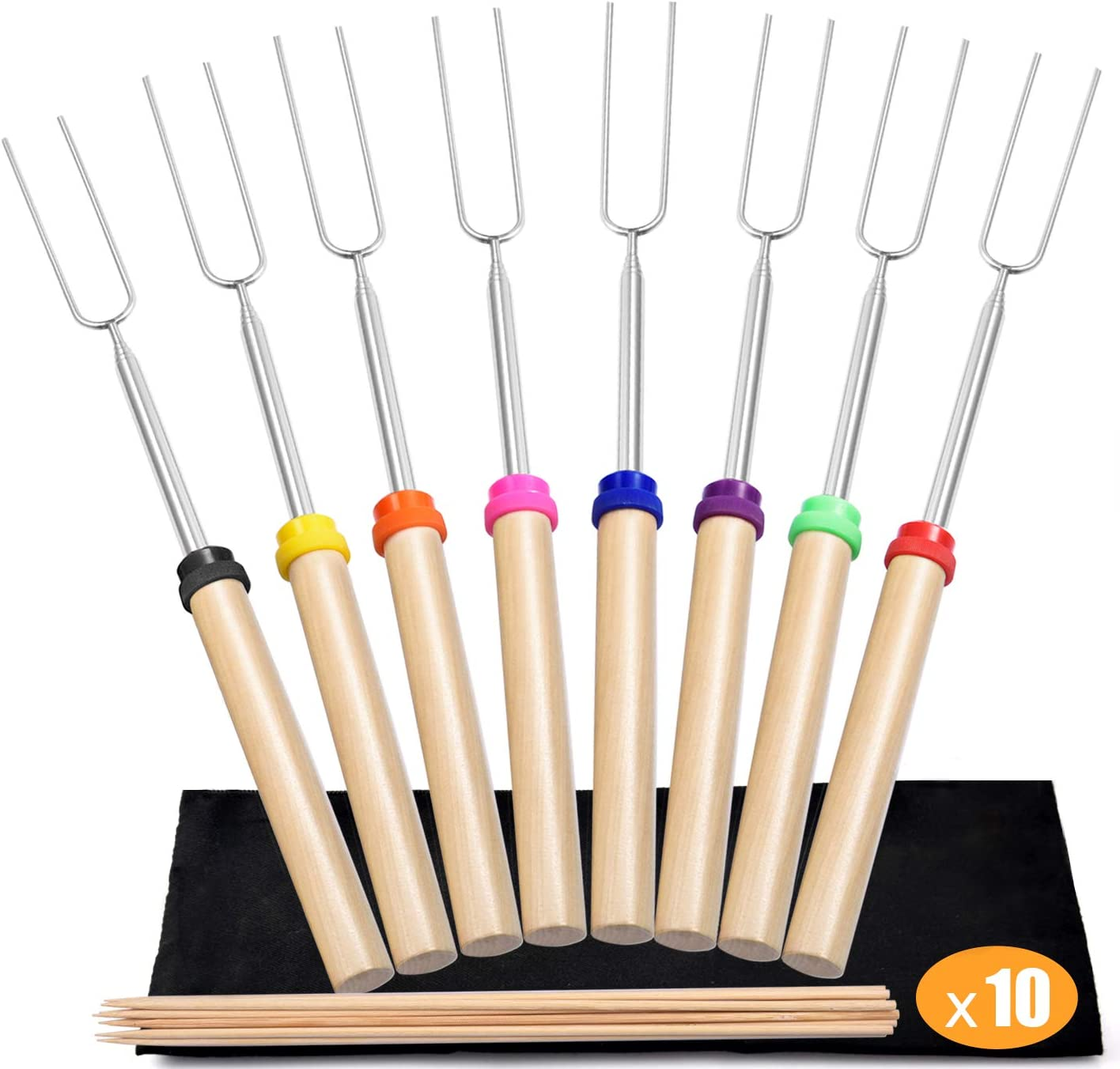 """Newtion 8 PCS 32"""" Extendable BBQ Forks - Marshmallow Roasting Sticks with Wooden Handle, Telescoping Smores Skewers for Campfire Firepit : Garden & Outdoor"""