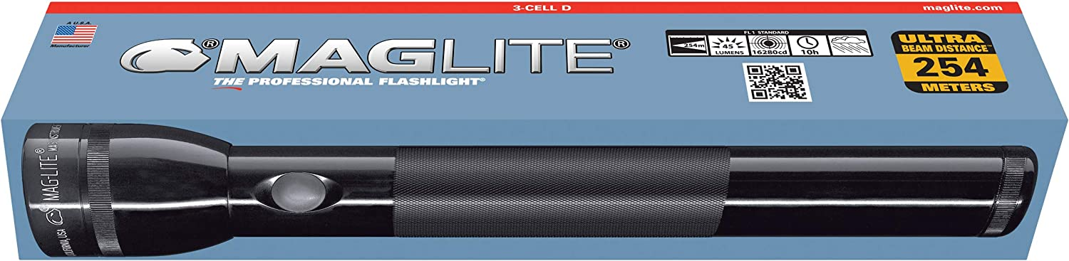 Maglite Heavy-Duty Incandescent 3-Cell D Flashlight in Display Box, Black