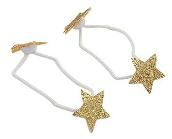 Zest 2 Sparkly Star Hair Bands Hair Bobbles Hair Elastics Gold ... 7c0c4f68531
