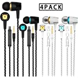 A9 Headphones Earphones Earbuds Earphones, Noise Islating, High Definition, Stereo for Samsung, iPhone,iPad, iPod and Mp3 Players (Mixed Color 4 Pairs) (Mixed Color 4 Pairs)
