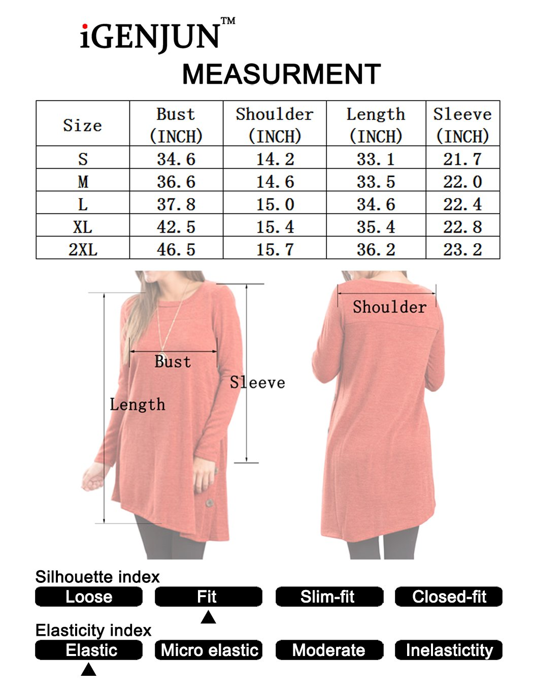 iGENJUN-Womens-Long-Sleeve-Scoop-Neck-Button-Side-Tunic-Dress