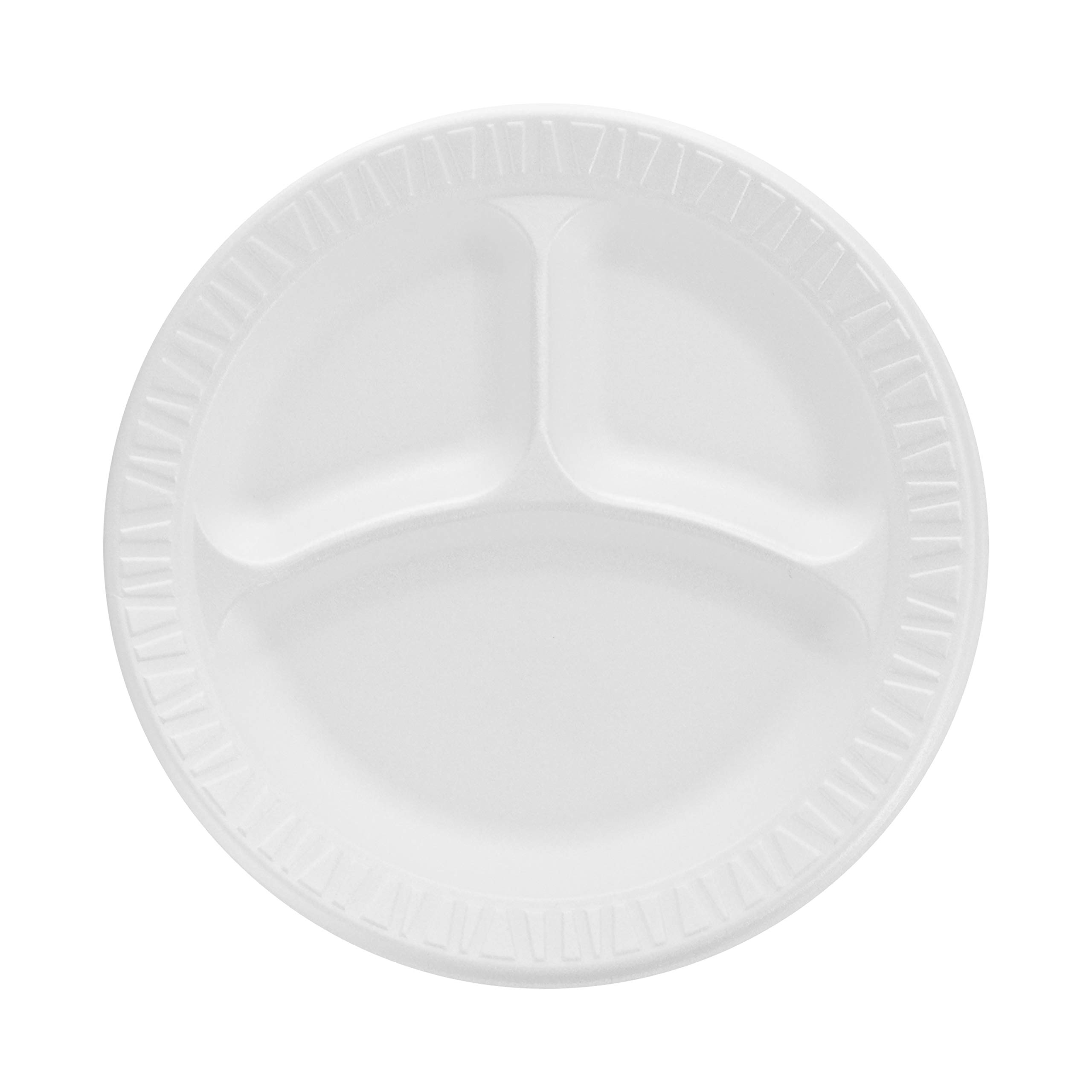 Dart 9CPWCR 9 in White Unlaminated Foam 3 Comp Plate (Case of 500) by Solo Foodservice