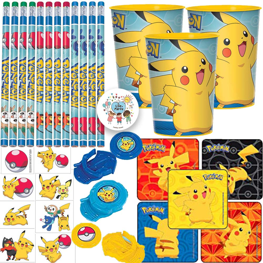 Pokemon Birthday Party Favor Pack And Goodie Bag Fillers For 12 With Pencils, Favor Cups, Tattoos, Stickers, Disc Shooters, and Exclusive Pin
