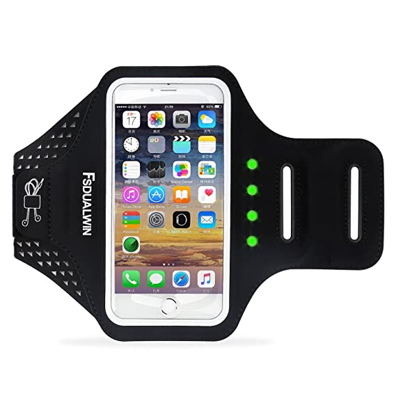 promo code 851f8 3de48 FSDUALWIN iPhone 7 Plus Armband with Motion-activated LED Lights, Sports  Arm Band, Waterproof Fingerprint Touch Supported Arm Case with Card Slot  for ...