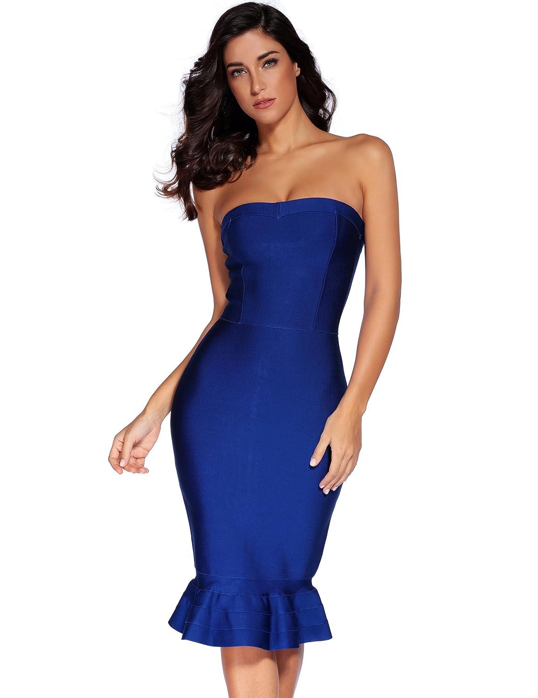 Vestido de fiesta de mujer Shownice sin tirantes vendaje Bodycon cóctel vestido de fiesta Blue-T Medium: Amazon.es: Ropa y accesorios
