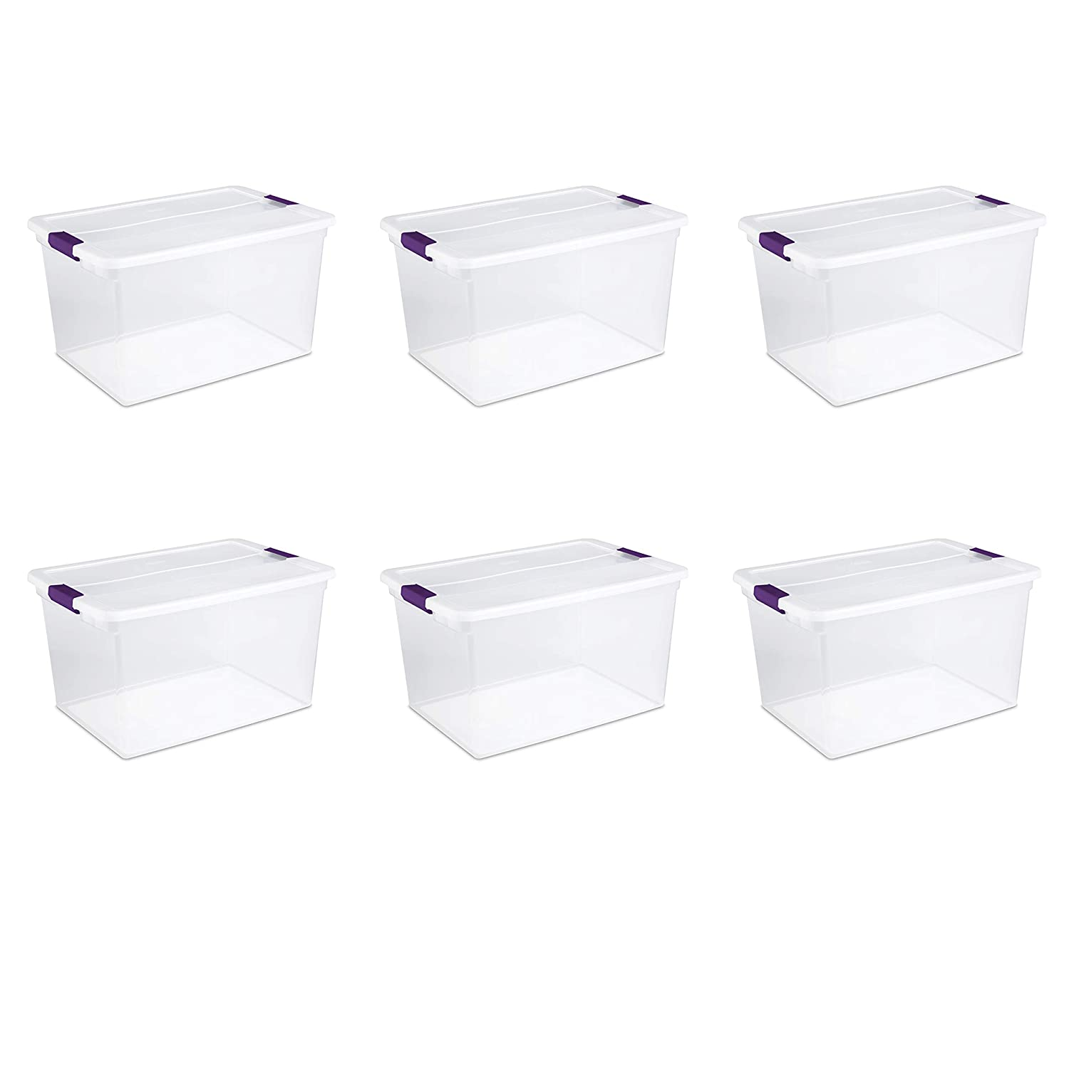 Sterilite 17571706 66 Quart/62 Liter ClearView Latch Box, Clear Lid & Base w/ Sweet Plum Latches, 6-Pack