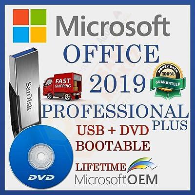 MS Office 2019 Professional PLUS   Con controlador USB y DVD   Licencia minorista   Versión completa   Envío de entrega   Configuración automática lista para iniciar   NUEVO   Idioma: Español  