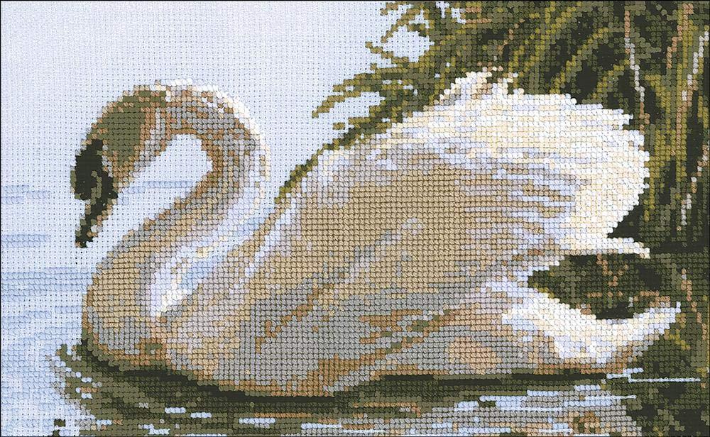 34 x 21 x 0,1 cm Baumwolle Riolis Weiblicher Schwan Kreuzstichpackung Mehrfarbig