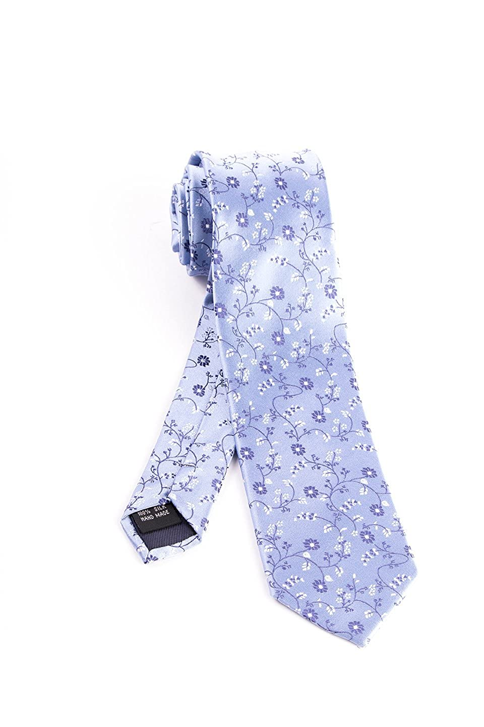 Pure Silk Light Blue with Navy Floral Pattern Slim Tie by Tiglio Luxe
