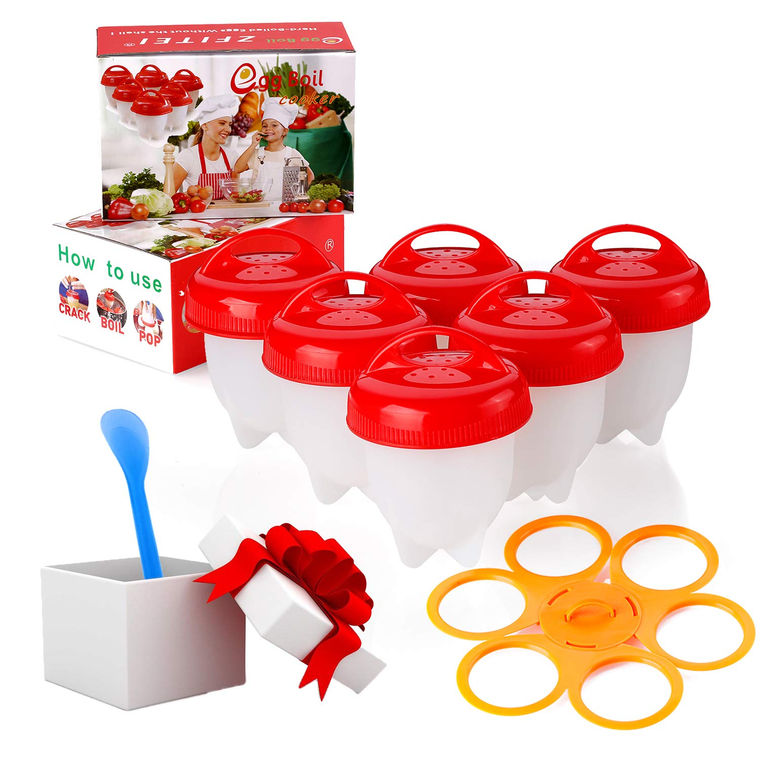 Upgrade Version Egg Cooker holder and Egg Cooker 6pack,Pls watch Real test video, Boiled Eggs No shell,hard&Soft Maker,BPA Free,Non Stick Silicone,Apply to Poacher, Boilead, Steamer.