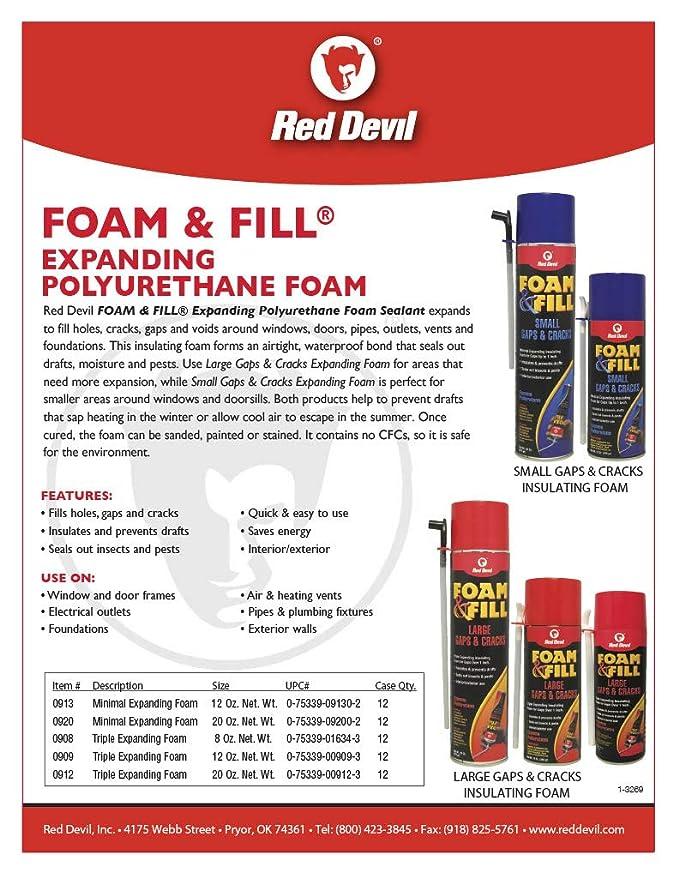 Red Devil 0908 Foam & Fill Large Gaps & Cracks Polyurethane Foam Sealant 8 oz Off White - - Amazon.com