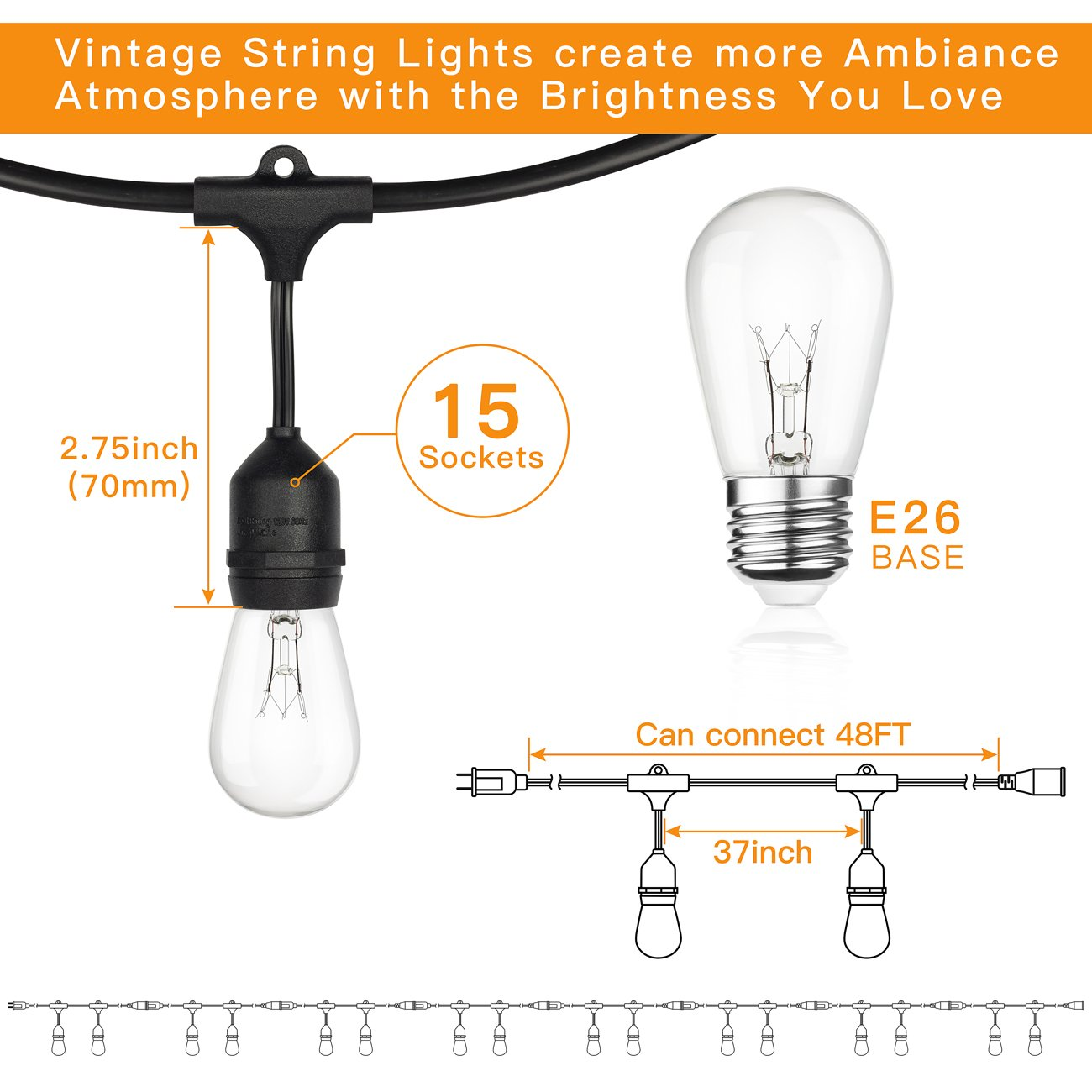 2-Pack 48Ft Heavy Duty Outdoor Patio String lights, Edison Vintage Dimmable 11S14 Bulbs w/ Hanging Sockets, Commercial Grade Weatherproof Market Cafe Lights for Bistro Backyard Pergola Party, Blk by SHINE HAI (Image #4)