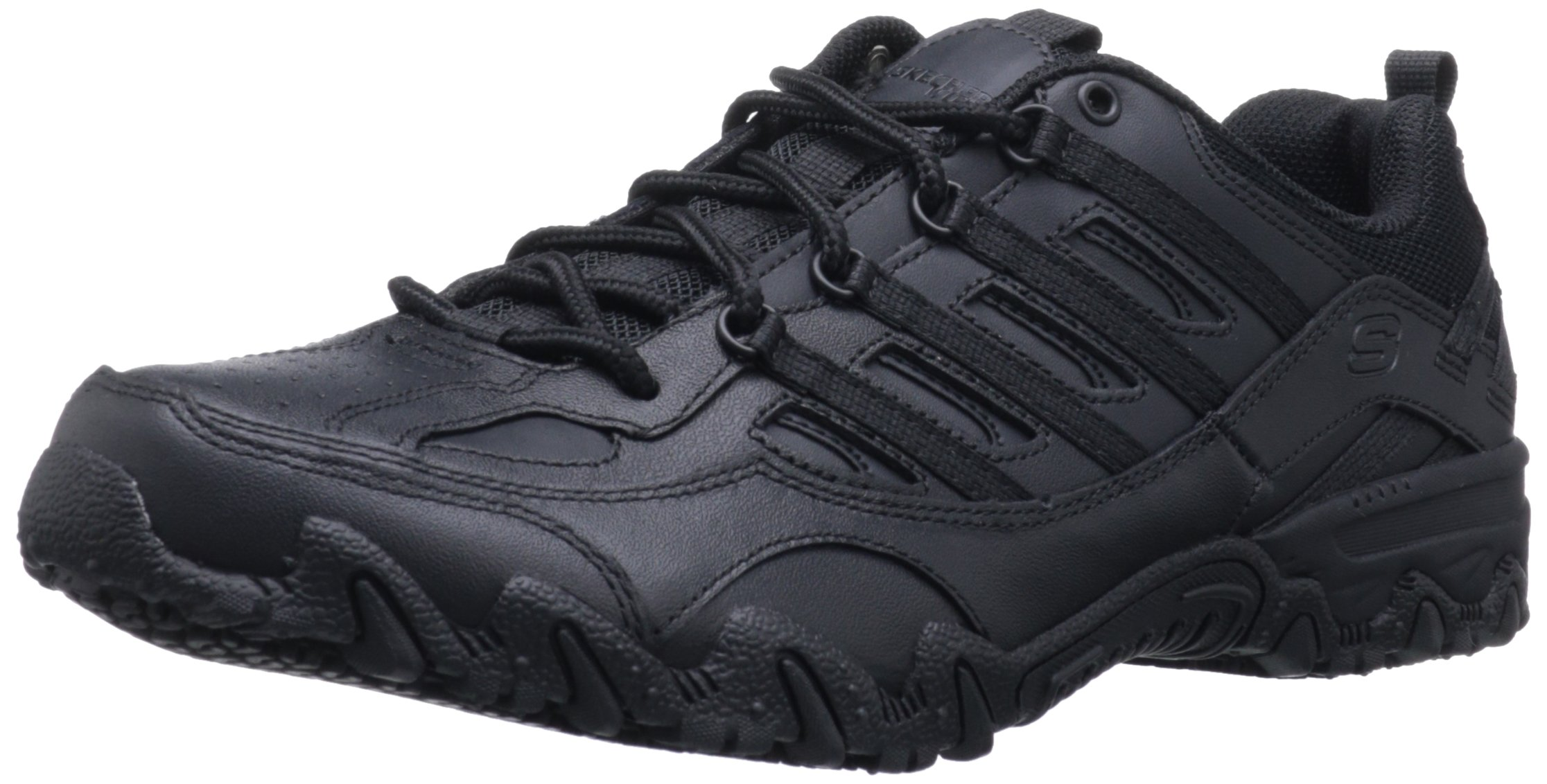 Skechers for Work Women's Compulsions Chant Lace-Up Work Shoe, Black, 6.5 XW US