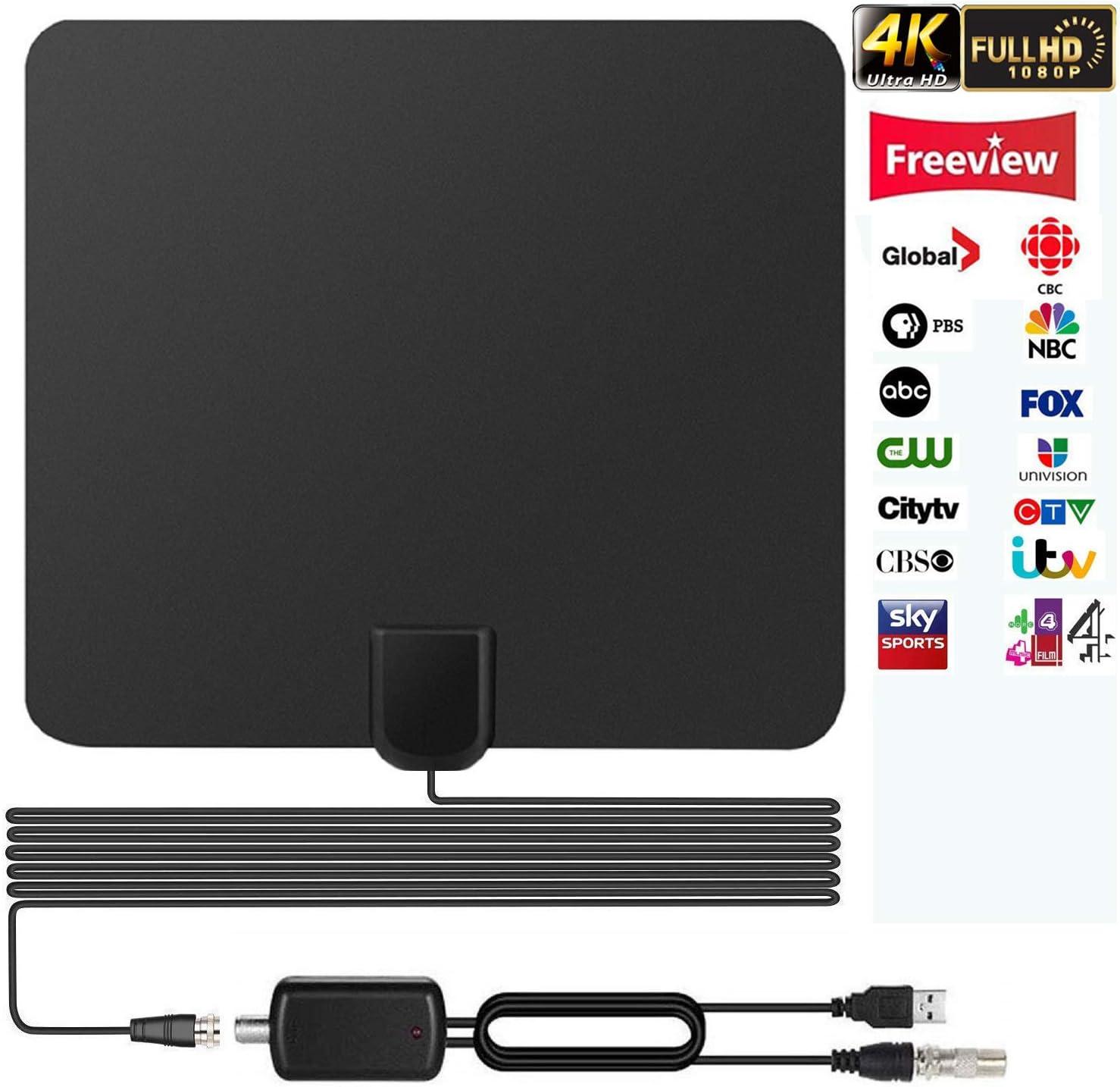 Antena de TV, TELEV Antena Interior HDTV de Rango Amplificado de 65 Millas con Amplificador de Señal Desmontable y Cable Coaxial DE 16.5 Pies Negro: Amazon.es: Electrónica