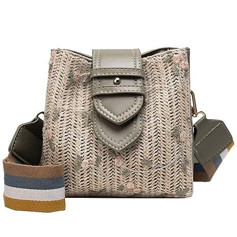 Bolso de viaje de paja estilo retro para mujer con diseño de ...
