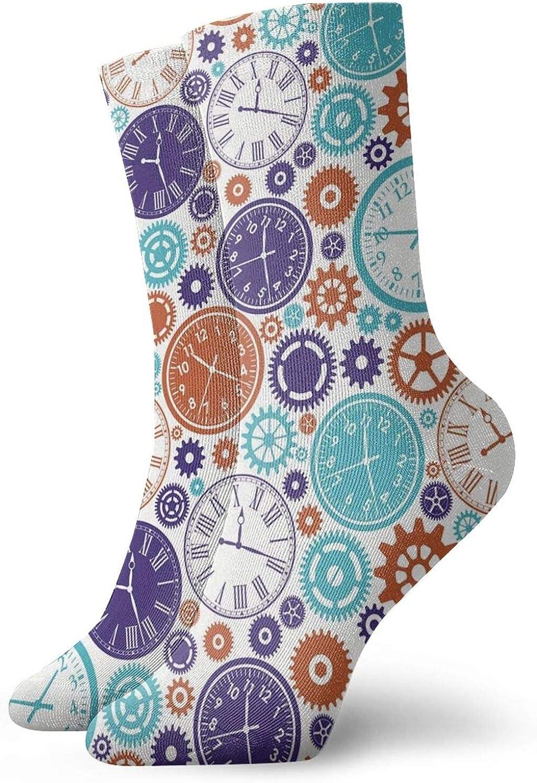 Calcetines suaves de media pantorrilla, mecanismo de reloj vintage, números romanos y patrón de mano, calcetines para mujeres y hombres, ideales para correr