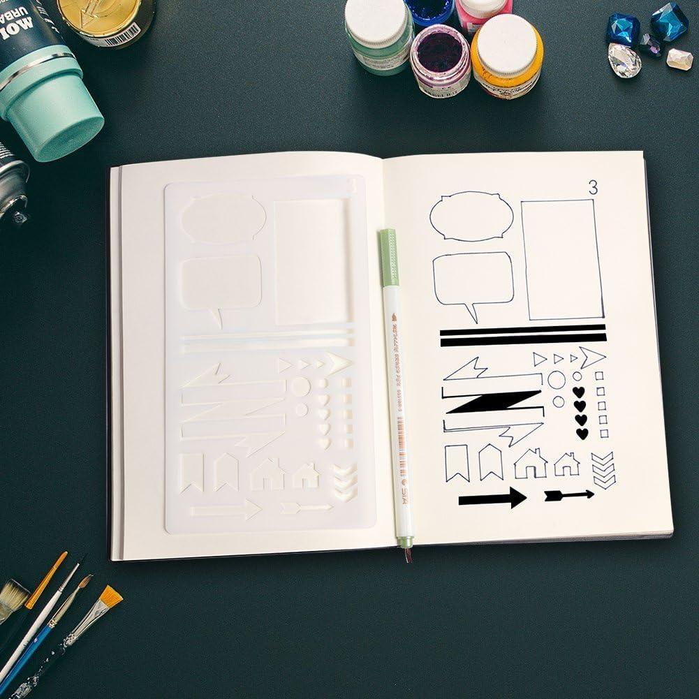 Journal Stencil Set for Bullet Planning Drawing 12 PCS Plastic Stencils